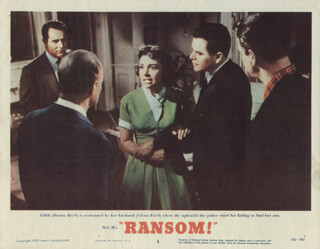 RANSOM MOVIE CAST - LOBBY CARD UNSIGNED (USA) 1956