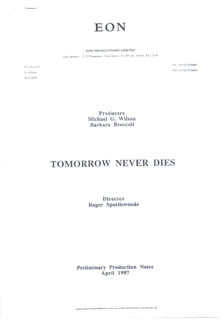 TOMORROW NEVER DIES MOVIE CAST - PRESS KIT UNSIGNED