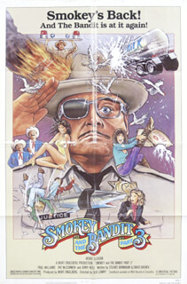 SMOKEY AND THE BANDIT 3 MOVIE CAST - POSTER UNSIGNED CIRCA 1983