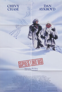 SPIES LIKE US MOVIE CAST - POSTER UNSIGNED CIRCA 1985
