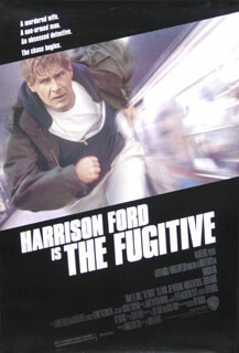 FUGITIVE MOVIE CAST - POSTER UNSIGNED CIRCA 1993