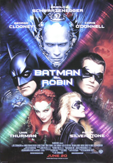 BATMAN AND ROBIN MOVIE CAST - POSTER UNSIGNED CIRCA 1997
