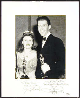 JAMES JIMMY STEWART - PHOTOGRAPH MOUNT SIGNED 1991 CO-SIGNED BY: GINGER ROGERS