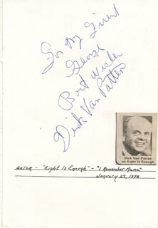 DICK VAN PATTEN - AUTOGRAPH NOTE SIGNED CO-SIGNED BY: WESLEY EURE