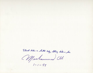 MUHAMMAD THE GREATEST ALI - AUTOGRAPH QUOTATION SIGNED 01/01/1988  - HFSID 261981