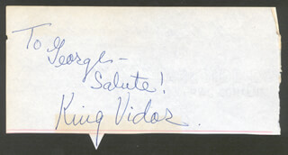 KING VIDOR - AUTOGRAPH NOTE SIGNED CO-SIGNED BY: THE MERRY MACS (JUDD McMICHAEL), THE MERRY MACS (TED McMICHAEL), THE MERRY MACS , THE MERRY MAC'S (LOUANNE HOGAN), THE MERRY MACS (DICK BALDWIN)