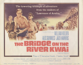 BRIDGE ON THE RIVER KWAI MOVIE CAST - LOBBY CARD UNSIGNED (USA) 1957