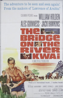 BRIDGE ON THE RIVER KWAI MOVIE CAST - ORIGINAL ONE SHEET UNSIGNED 1957