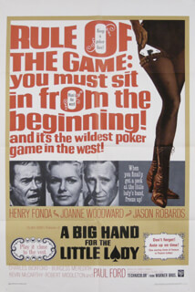 BIG HAND FOR THE LITTLE LADY MOVIE CAST - ORIGINAL ONE SHEET UNSIGNED 1966
