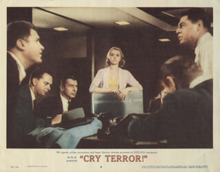 CRY TERROR MOVIE CAST - LOBBY CARD UNSIGNED (USA)