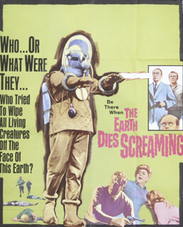 THE EARTH DIES SCREAMING MOVIE CAST - ORIGINAL ONE SHEET UNSIGNED 1964