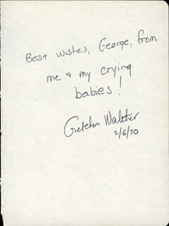 GRETCHEN WALTHER - AUTOGRAPH NOTE SIGNED 02/06/1970