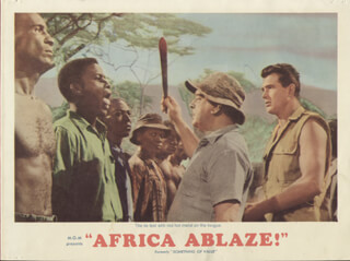 Autographs: AFRICA ABLAZE! - LOBBY CARD UNSIGNED (USA) 1957