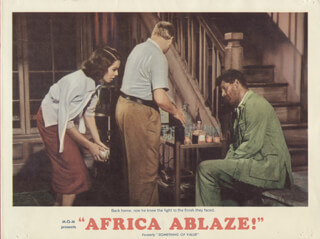 AFRICA ABLAZE! - LOBBY CARD UNSIGNED (USA) 1957