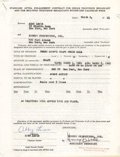 ABBY LEWIS - CONTRACT SIGNED 03/02/1962