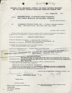 GROUCHO (JULIUS) MARX - DOCUMENT MULTI-SIGNED 08/22/1967