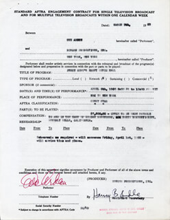 EVE ARDEN - CONTRACT SIGNED 03/09/1960