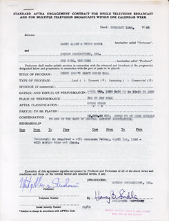 MARTY ALLEN - CONTRACT MULTI-SIGNED 02/16/1960 CO-SIGNED BY: STEVE ROSSI