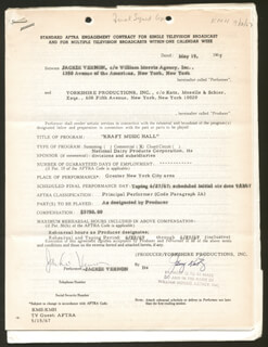 JACKIE VERNON - CONTRACT MULTI-SIGNED 05/19/1967