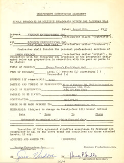 GWEN VERDON - CONTRACT MULTI-SIGNED 08/16/1960