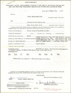 JOEY HEATHERTON - CONTRACT SIGNED 09/29/1960 CO-SIGNED BY: DAVENIE W. ((MRS. RAY )) HEATHERTON