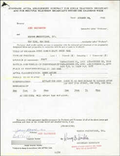 JOEY HEATHERTON - CONTRACT SIGNED 10/20/1960