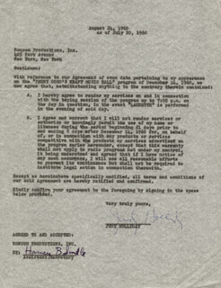 JUDY HOLLIDAY - CONTRACT SIGNED 07/20/1960