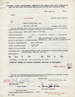 JUDY HOLLIDAY - DOCUMENT MULTI-SIGNED 07/20/1960
