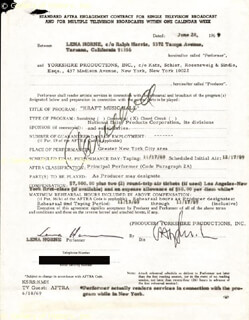 LENA HORNE - ANNOTATED CONTRACT SIGNED 06/20/1969