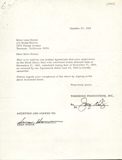 LENA HORNE - DOCUMENT SIGNED 10/27/1969