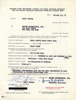 BETTY HUTTON - CONTRACT SIGNED 10/31/1961