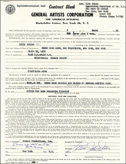 LOUIS JORDAN - CONTRACT SIGNED 03/09/1956