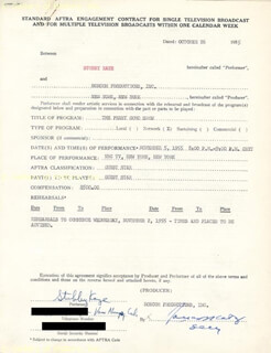 STUBBY KAYE - DOCUMENT SIGNED 10/26/1955