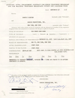 DOROTHY KIRSTEN - CONTRACT SIGNED 09/19/1955