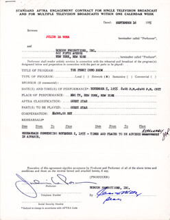 JULIUS LA ROSA - CONTRACT SIGNED 09/16/1955