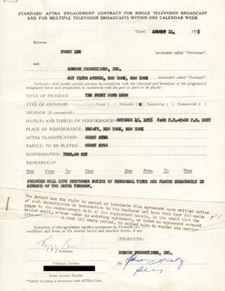 PEGGY LEE - CONTRACT SIGNED 08/11/1955
