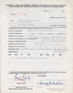 PAUL LYNDE - CONTRACT SIGNED 05/01/1961