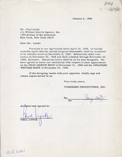 PAUL LYNDE - CONTRACT SIGNED 01/02/1969