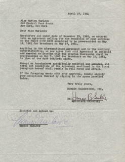 MARION MARLOWE - CONTRACT SIGNED 04/27/1961