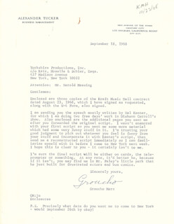 GROUCHO (JULIUS) MARX - TYPED LETTER SIGNED 09/18/1968