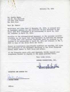 JACKIE MASON - CONTRACT SIGNED 02/10/1961