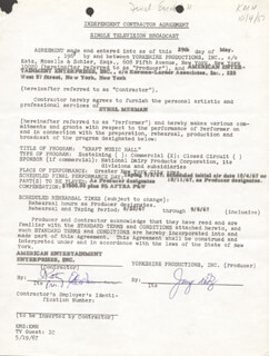 ETHEL MERMAN - CONTRACT SIGNED 05/29/1967