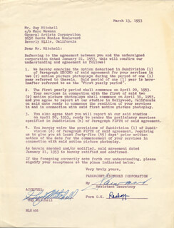 GUY MITCHELL - CONTRACT SIGNED 03/13/1953