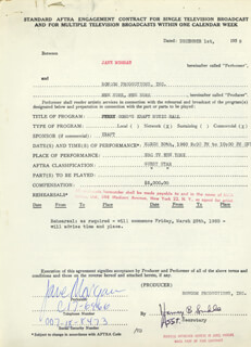 JANE MORGAN - CONTRACT SIGNED 12/01/1959