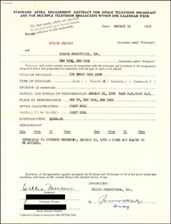 WILLIE MOSCONI - CONTRACT SIGNED 01/11/1956