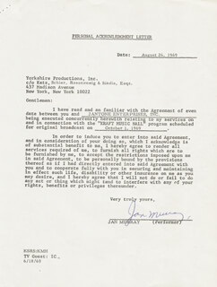 JAN MURRAY - CONTRACT SIGNED 08/26/1969