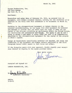 JULIE NEWMAR - DOCUMENT SIGNED 03/14/1961
