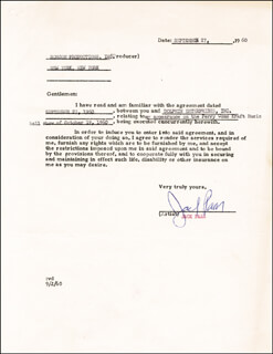 JACK PAAR - CONTRACT SIGNED 09/27/1960