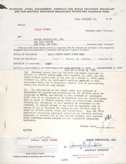 JULIET PROWSE - CONTRACT DOUBLE SIGNED 11/28/1960