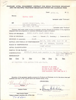 MARTHA RAYE - CONTRACT MULTI-SIGNED 04/25/1961